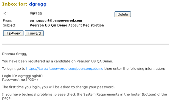 Candidate login procedures pearson assessment support for Change password email template